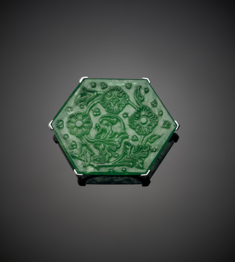 Carved Emerald in platinum mount by Cartier, 2010