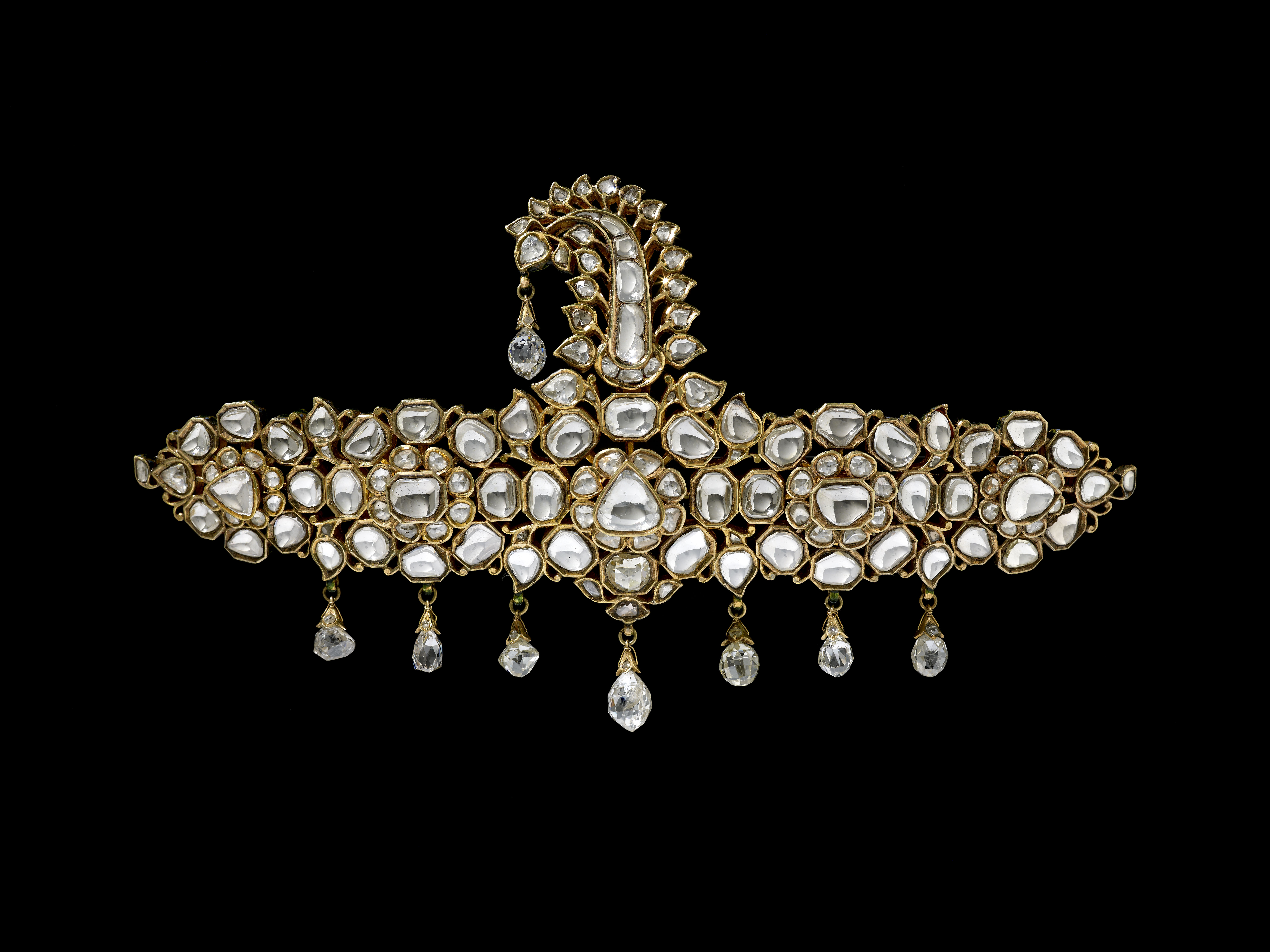 Turban ornament (front), gold with diamonds, Jaipur, late nineteenth century