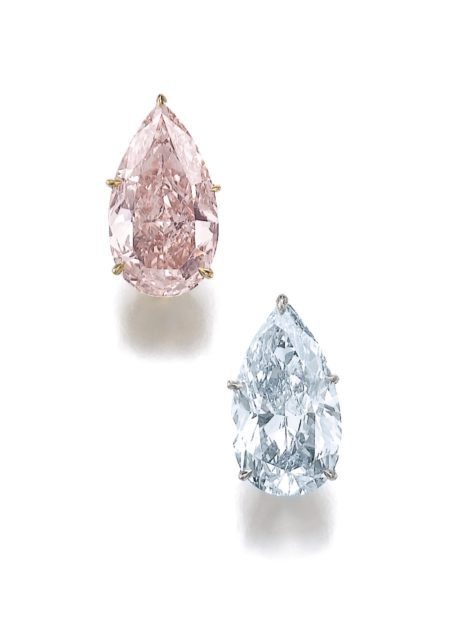 Lot-462-Pair-of-diamond-earrings-fancy-blue-and-fancy-orangy-pink.