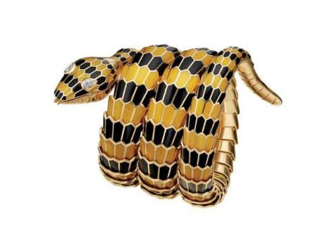 """Snake"" bracelet-watch in gold with yellow and black enamel and diamonds, ca 1968"