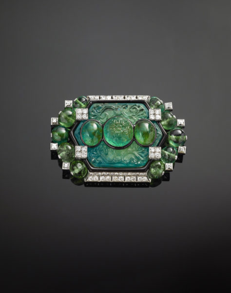 Emerald and diamond clip brooch, Cartier, Paris, 1925, modified 1927
