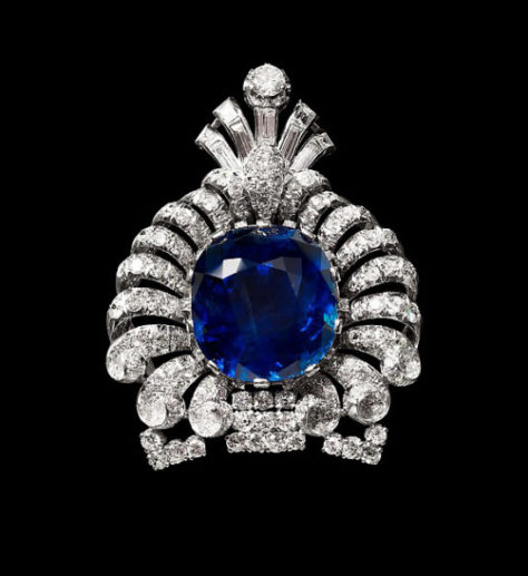 Turban Ornament or Brooch, ca. 1920, modified ca. 1925–35 Platinum, set with sapphire and diamonds; H. 3 in. (7.5 cm) W. 2 3/8 in. (6 cm) The Metropolitan Museum of Art, New York, The Al Thani Collection (MJ.087) http://www.metmuseum.org/Collections/search-the-collections/458840