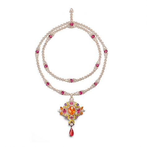Rosa dei Venti necklace set with a 38.08ct mandarin garnet surrounded by red spinels and pink and purple sapphires (