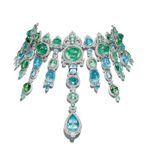 The show-stopping Giampiero Bodino Barocco choker, set with cascades of blue and green African Paraiba tourmalines totalling 326.21cts in white gold with diamonds.